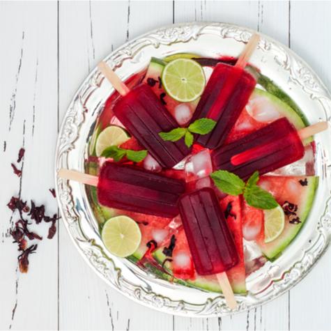 Hibiscus Margarita Lime Pops