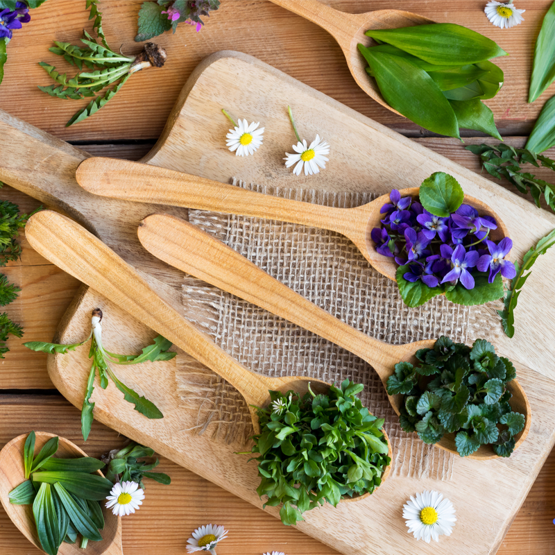 A Spoonful of Spring Flowers and Herbs